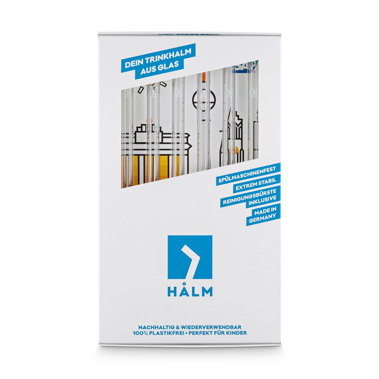 HALM-Glas-trinkhalm-inlay-beispiel-berlin-skyline-6er-set-mit-halm-logo-frontal